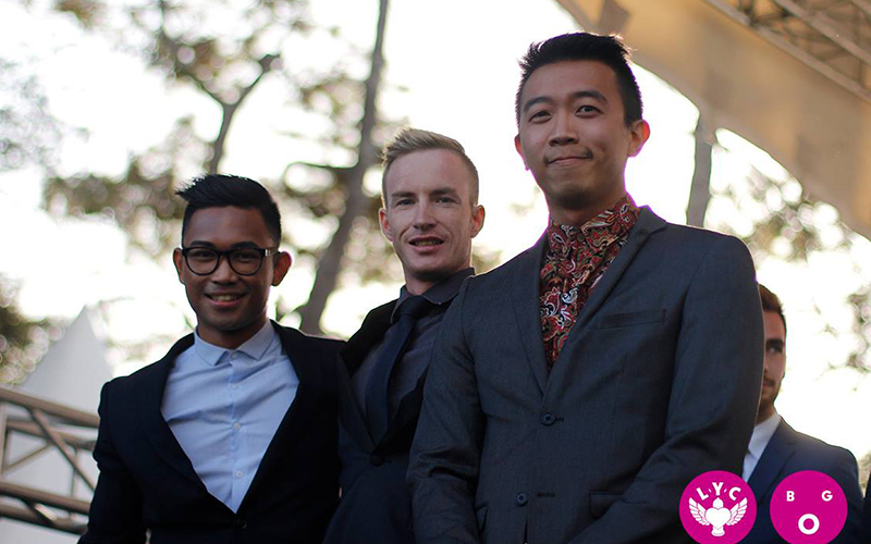 Bernard Lee at the Big Gay Out winning the Mr Gay New Zealand title ahead of Paolo Amante and Sam White.
