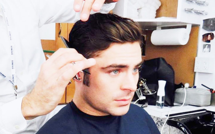 Short Slicked Back Hairstyle For Men - Zac Efron getting a chop before his next movie (Instagram)