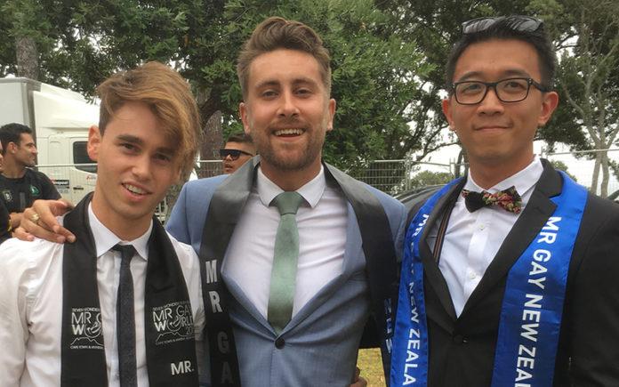 Mr Gay New Zealand 2017 Charlie Tredway with 2015 winner Matt Fistonich (Left) and last years winner Bernard Lee (Right).