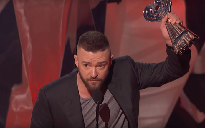 Justin Timberlake accepts his Song of the Year award at the iHeartRadio Music Awards (Youtube)