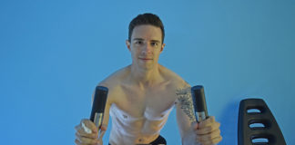 Bath Blogger James Deg warming up his body after a session at Gravity Cryo (Supplied)