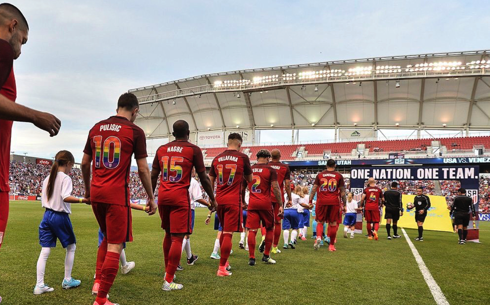 wholesale dealer 13a44 c1e20 Outrage As US Soccer Team Dons Rainbow Jersey For In Support ...