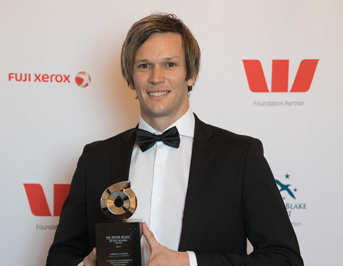 Aaron Fleming with his Sir Peter Blake Leadership Award on Friday night (Supplied)