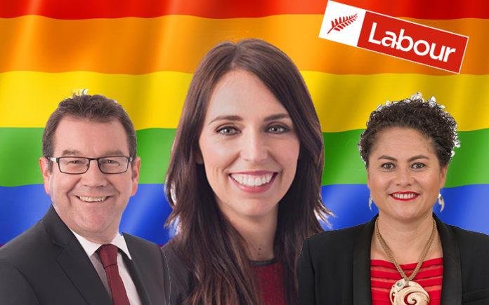 Grant Robertson, Jacinda Adern and Louisa Wall