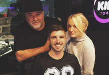 Brooklyn Ross (Middle) with Kyle Sandilands and Jackie Henderson from the Kyle and Jackie O show on KIIS FM Sydney (Instagram)