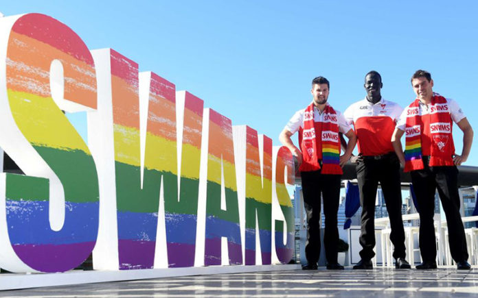Sydney Swans players Nic Newman, Aliir Aliir and Nick Smith (Source aap-Nick Miller)