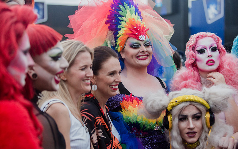 New Zealand Prime Minister Jacinda Ardern amongst friends at the Auckland Pride Parade - Source: Maria Ligaya http://www.marialigayaphotography.com