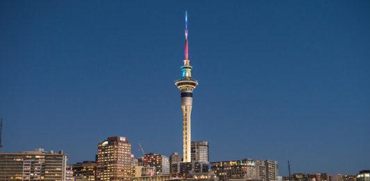 SKYCITY Tower in rainbow colours