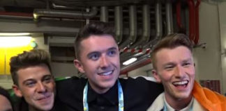 Ryan O'Shaughnessy (Middle) takes Ireland into Eurovision Finals with dancers Alan McGrath (left) and Kevin O'Dwyer (right) (Andres Putting - Supplied)