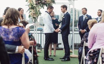 Celebrant Lisa Parker marrying Michael and Ben Gresham-Petchell