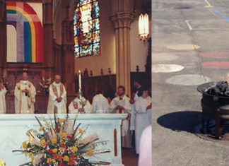 Rainbow Flag burned by Chicago Catholic Priest