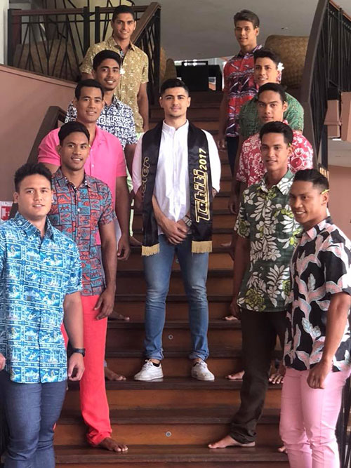 Mister Tahiti 2017 with 2018 contestants (Supplied)