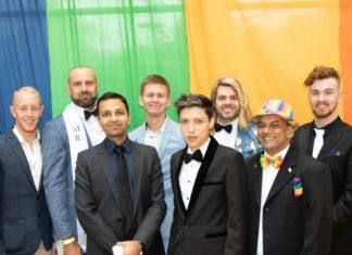 Mr Gay Pride Australia 2019 Finalists at ChillOut Festival Carnival in Daylesford (L-R Rhys Cameron, Rad Mitic, Prashant Bhatia, Liam Davies, Andre Cordova, Justin Hill, Johann De Joodt & Darby Savage) (Photo credit - Fred LeMarche - The Boy Project)