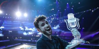 Eurovision 2019 Champion Duncan Laurence from The Netherlands on stage with the trophy in Tel Aviv - Photo by: Thomas Hanses (Supplied)