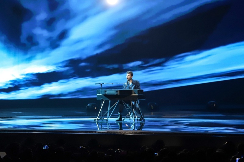 Duncan Laurence performing his ballad Arcade on stage at Eurovision 2019 - Photo by: Thomas Hanses (Supplied)