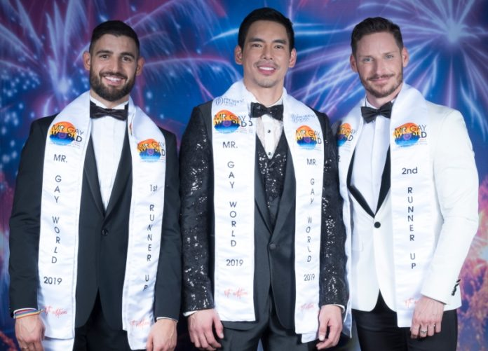 Mr Gay World 2019 Top 3 -(L-R) Francisco Alvarado (Spain), Janjep Carlos (Philippines), Oliver Pusztai (Hungary) - Photo Courtesy of Rudi du Toit Photography and Mr Gay World