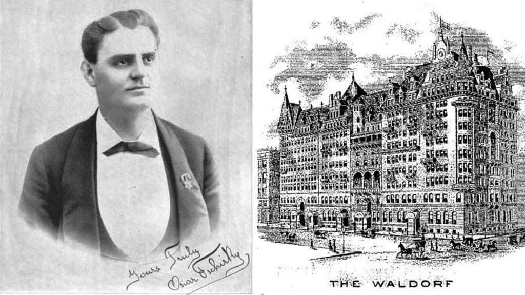 Oscar Tschirky via Wiki Commons (L) and the Waldorf Hotel via Wiki Commons (R) Hilton