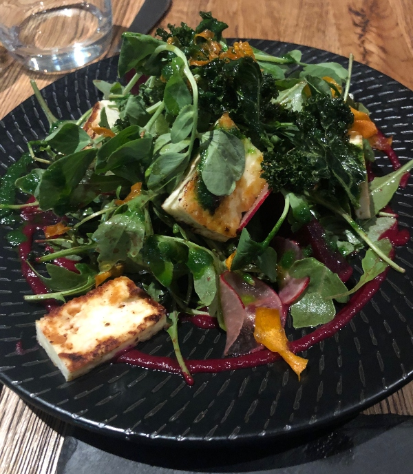 Haloumi, beet and leaves salad