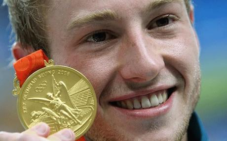 Matthew Mitcham with his Gold Medal at the 2008 Beijing Olympics