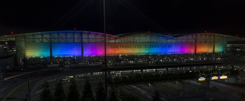 San Francisco Airport illuminated in rainbow colours, an annual occurrence, in honour of PRIDE