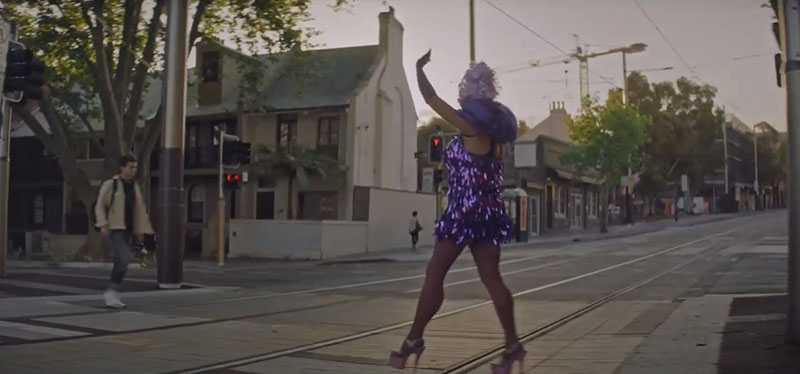 Sydney drag star Jojo Zaho appearing in Sydney tram commercial. (Youtube)
