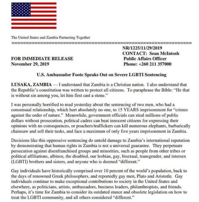 US Ambassador to Zambia Statement