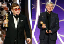 Elton John and Ellen Degeneres at Golden Globe Awards