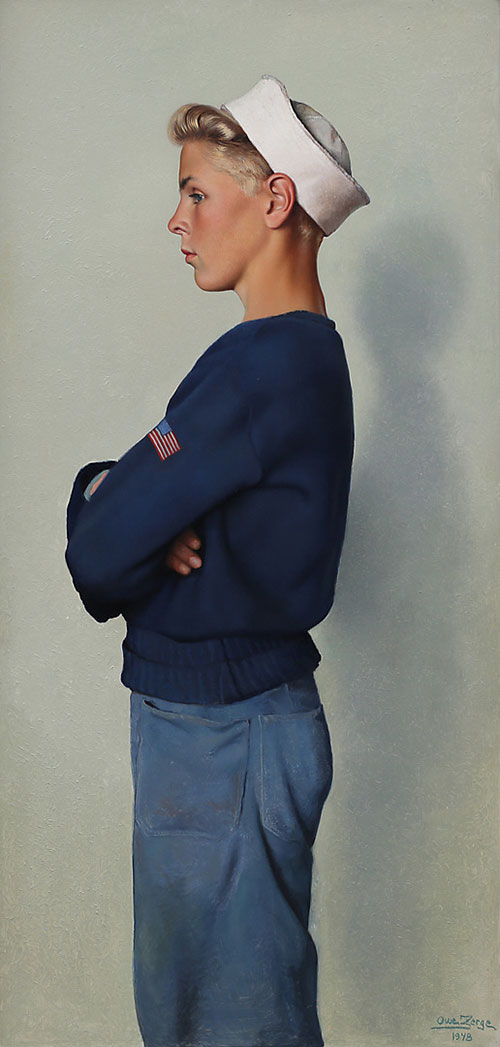 OWE ZERGE. Boy in American sailor costume, oil on panel, signed and dated 1948. (Photo: Garpenhus Auctions)