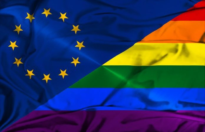 eu and lgbtiq flags