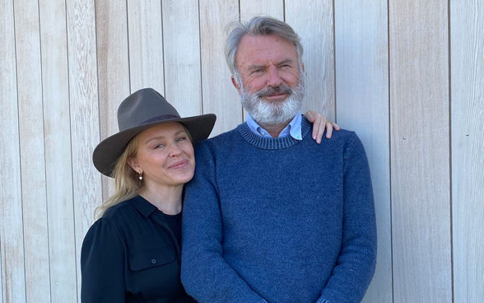 Kylie Minogue with Sam Neill at his Two Paddocks Estate in Central Otago New Zealand. (Instagram)