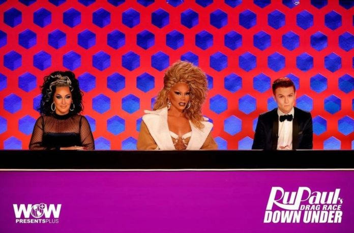 Drag Race Down Under judges Michelle Visage, RuPaul and Rhys Nicholson. (Instagram)