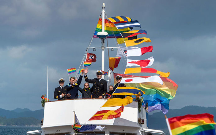Warships fly the rainbow flag during Bergen Boat Parade (BT.no)