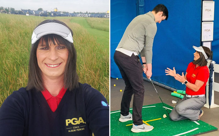 PGA Coach Alison Perkins at The Open Championship in England. (Twitter)
