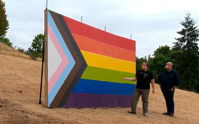 Progress Pride Flag erection in Oregon (KGW8)