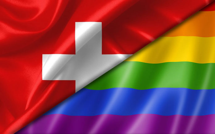 Swiss and rainbow flag