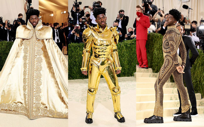 Lil Nas X arrives at the Met Gala 2021 (Twitter)